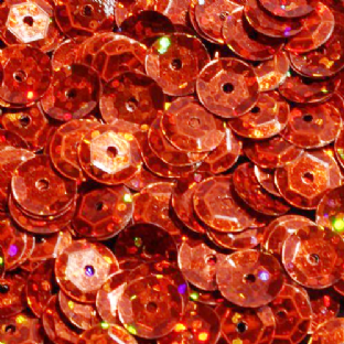 Value Pack 50g 8mm Hologram Orange Semi-cupped Sequins.